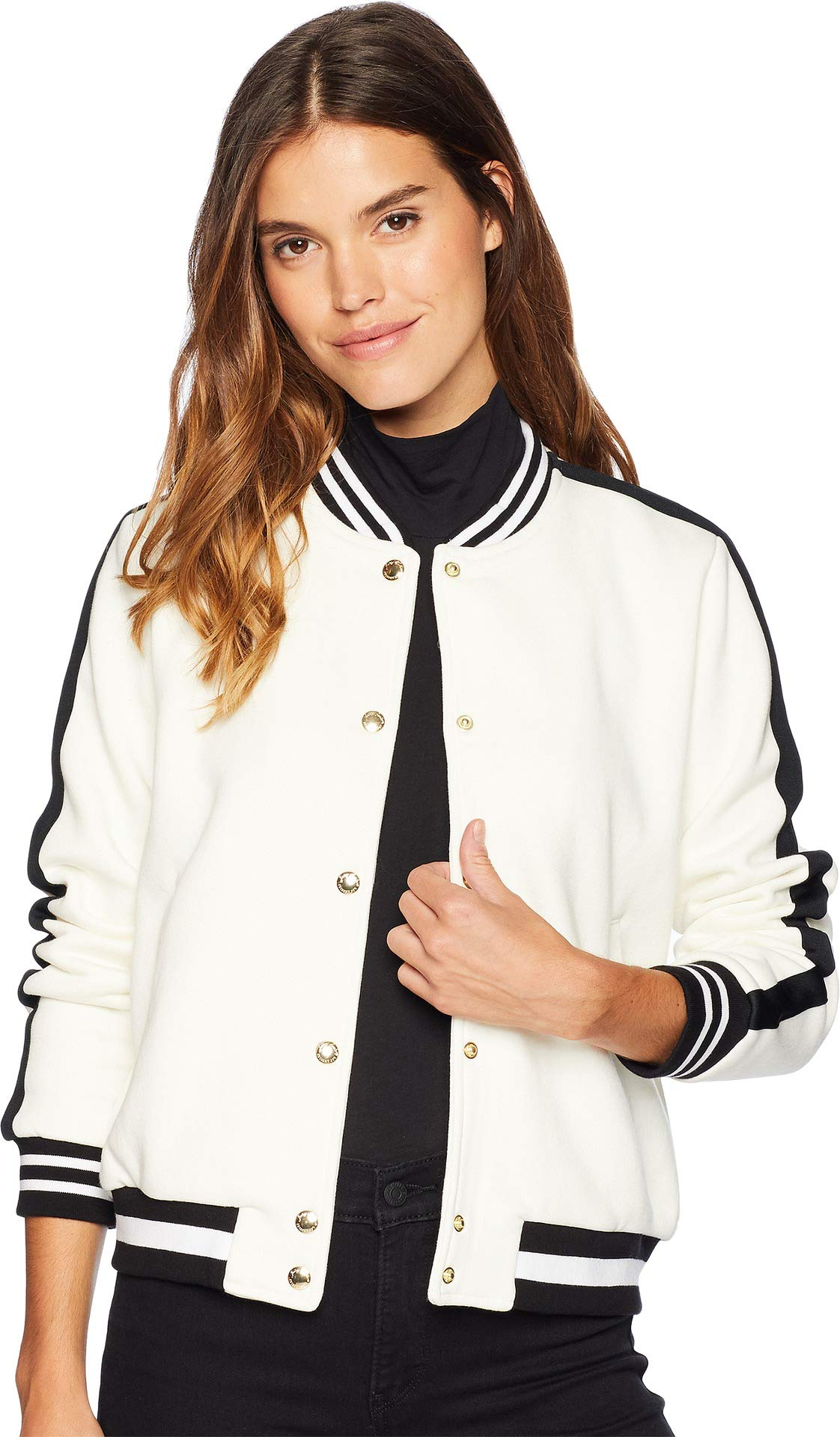 Juicy Couture Women's Luxe Tiger Patch Terry Bomber Jacket Angel Large