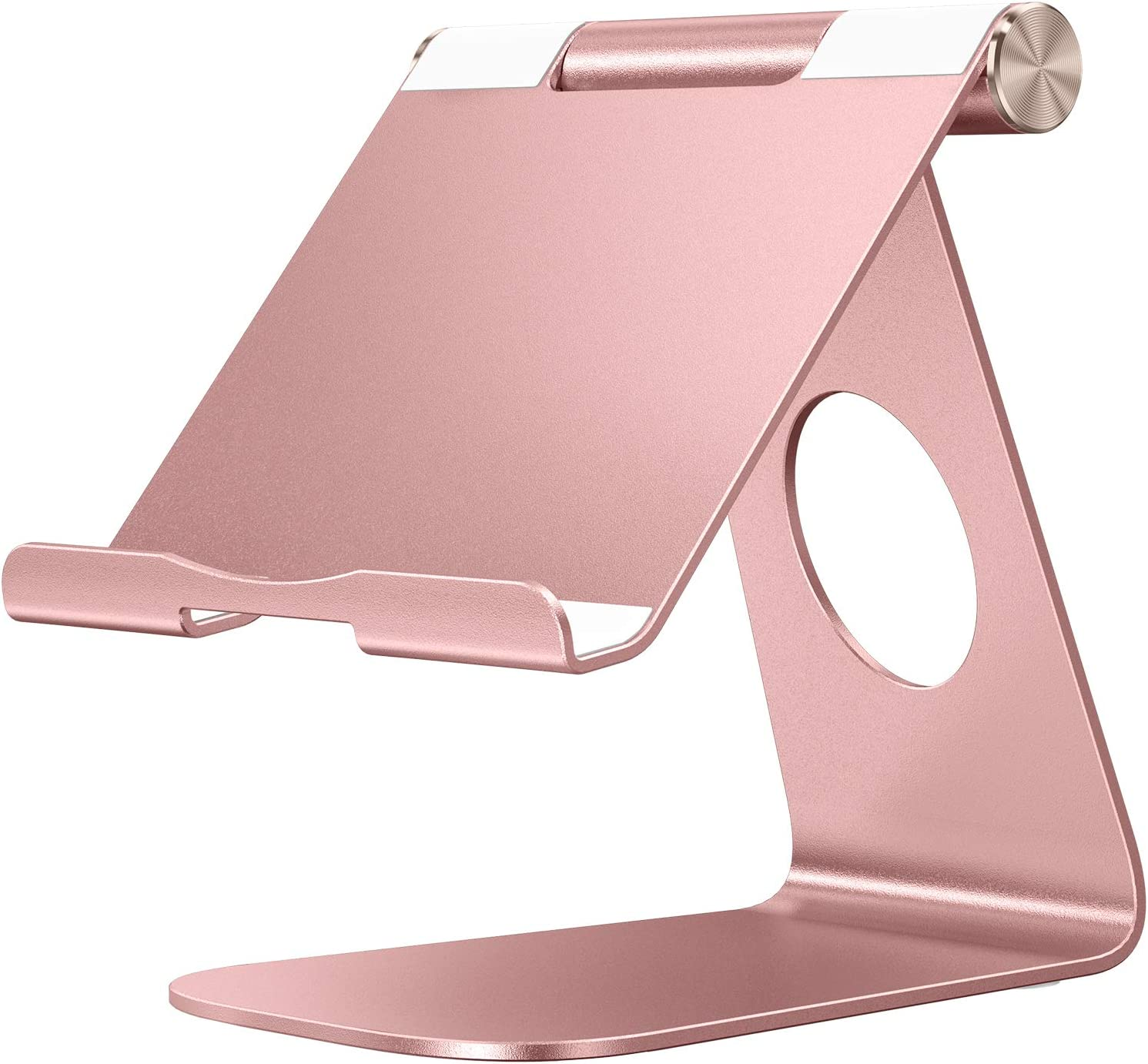 Tablet Stand Holder Adjustable, OMOTON T1 iPad Stand, Desktop Aluminum Holder Dock Compatible with iPad 10.2/9.7, iPad Pro 11/12.9, iPad Mini/Air, Samsung, Nintendo and More, Rose Gold