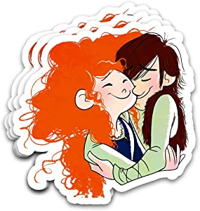 Kimlosk Brave Red Hair Princess Hiccups Merida Ship Fan Art Stickers for Laptops Tumblers Books Luggages Cases Pack 3x4 in Vinyl 3pcs/Pack