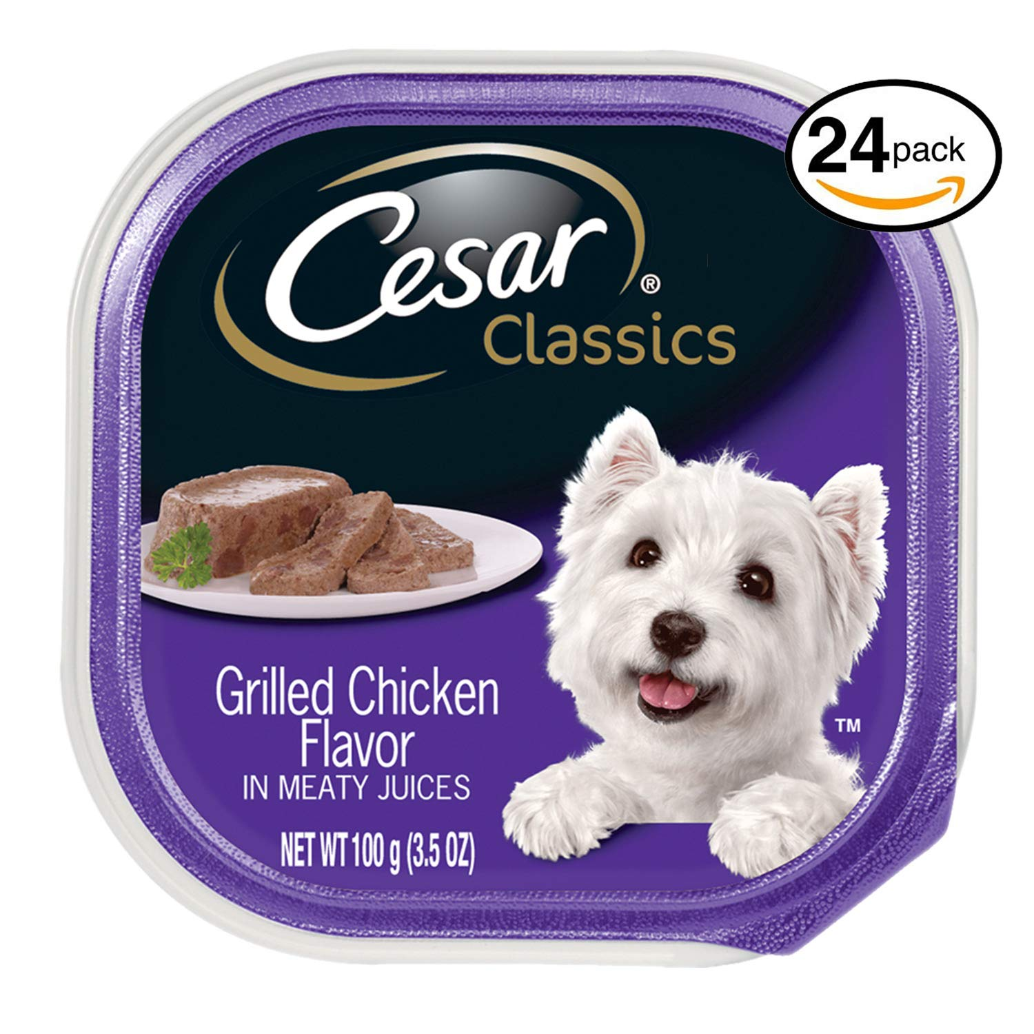 Cesar CANINE CUISINE Wet Dog Food Grilled Chicken Flavor, (Pack of 24) 3.5-oz Trays