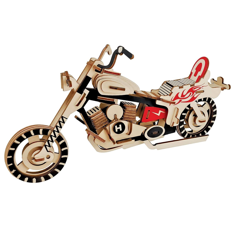 BestPysanky 65 Pieces Motorcycle Model Kit - Wooden Laser-Cut 3D Puzzle