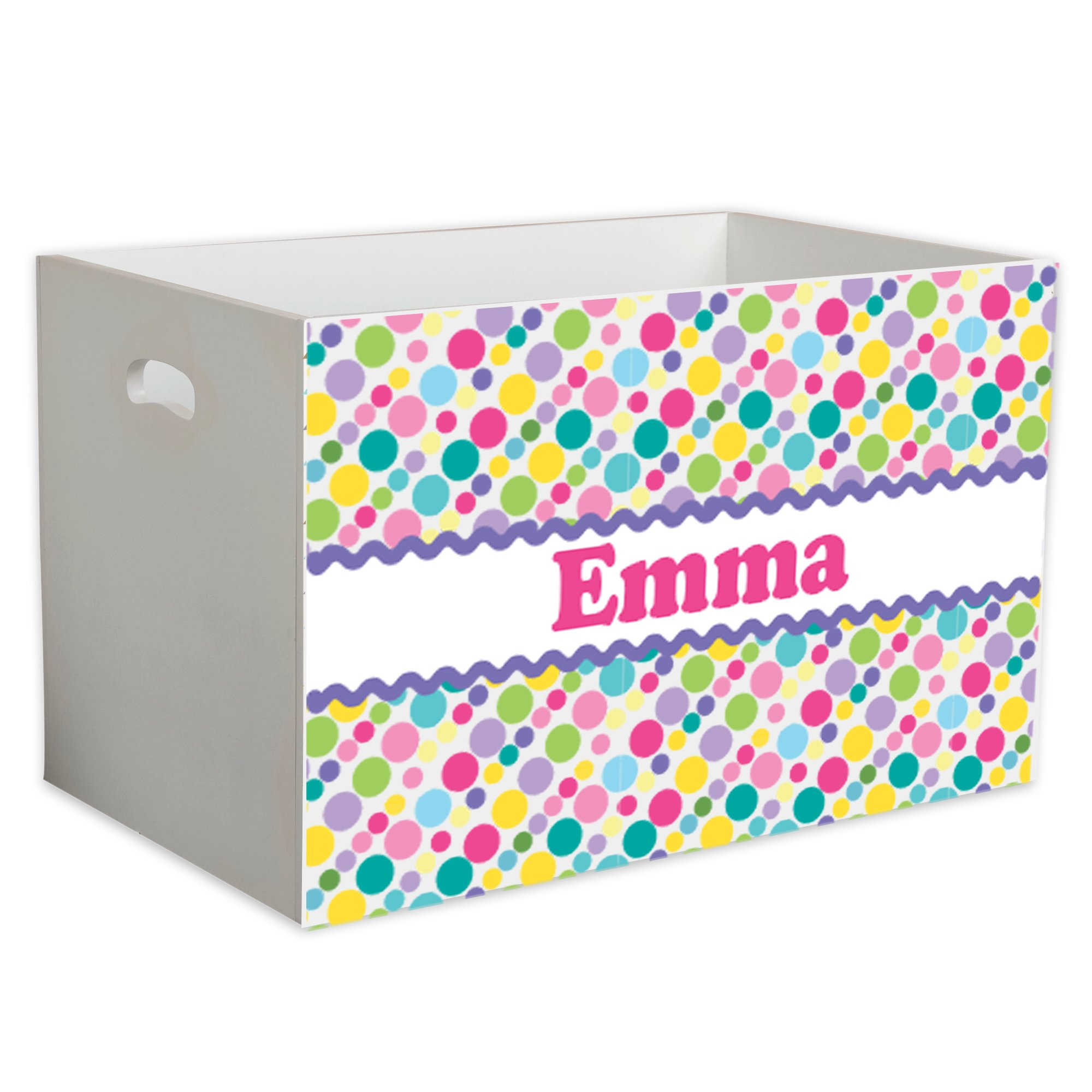 Personalized Bubble Gum Polka Dots Childrens Nursery White Open Toy Box
