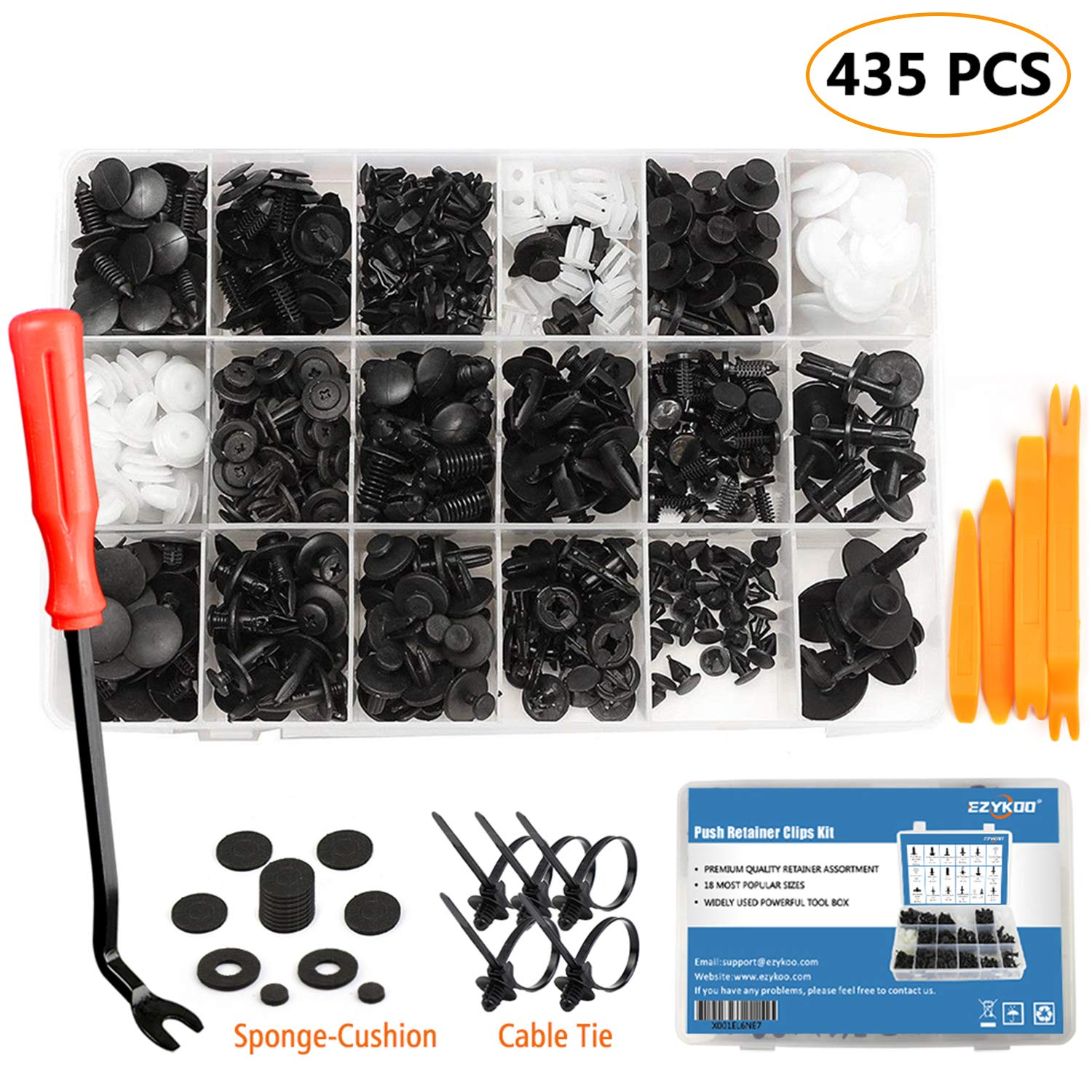 EZYKOO 435 Pcs Car Retainer Clips & Plastic Fasteners Kit - 19 Most Popular Sizes Auto Push Pin Rivets Set -Door Trim Panel Clips for GM Ford Toyota Honda Chrysler