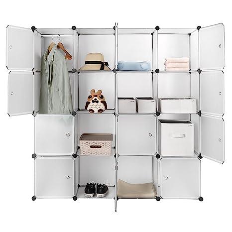 Sortwise 16 Cube Multi Use Diy Plastic Portable Wardrobe Closet Organizer With Hanging Rod Bookcase Storage Cabinet Wardrobe Closet Space Saving
