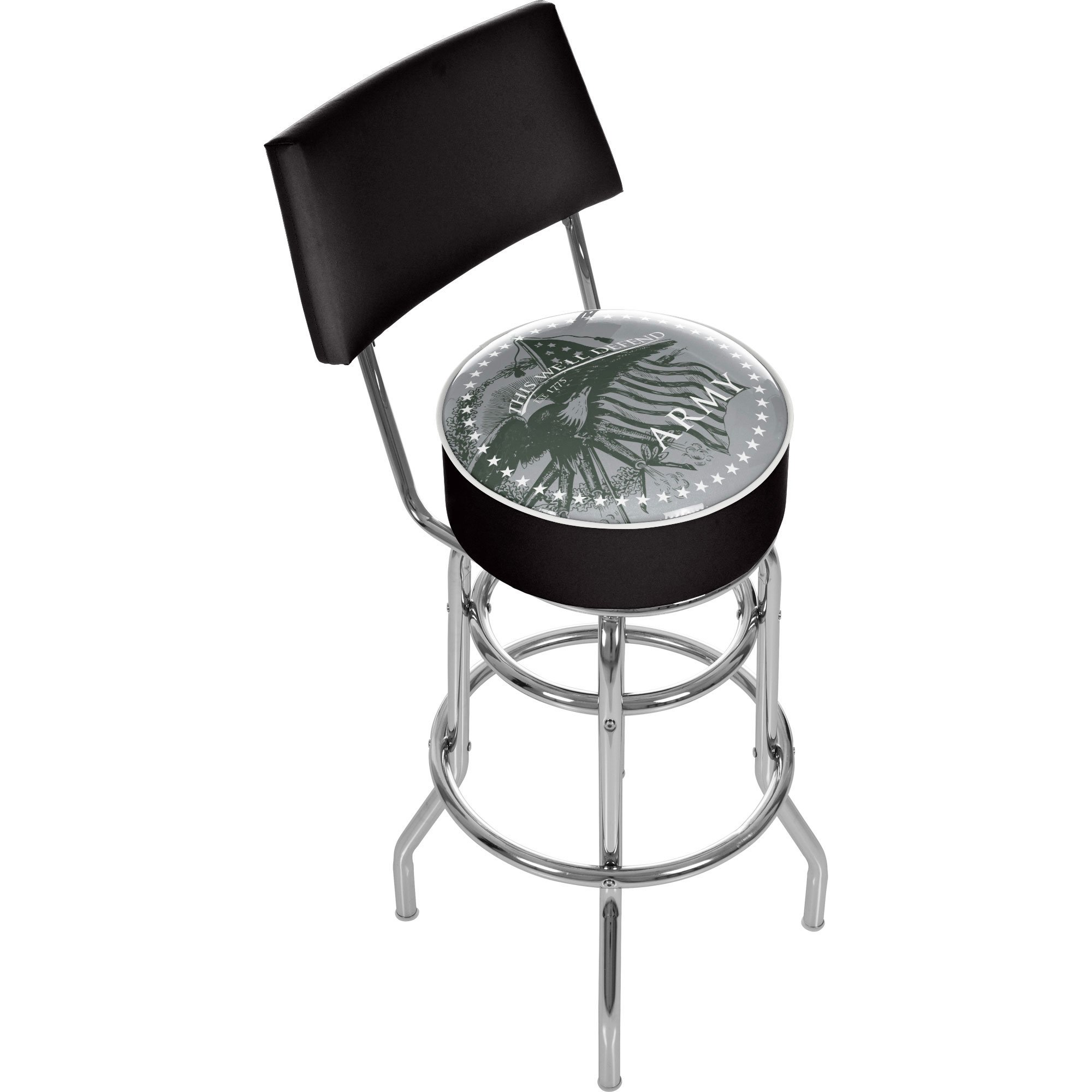 United States Army ''This We'll Defend'' Padded Swivel Bar Stool with Back
