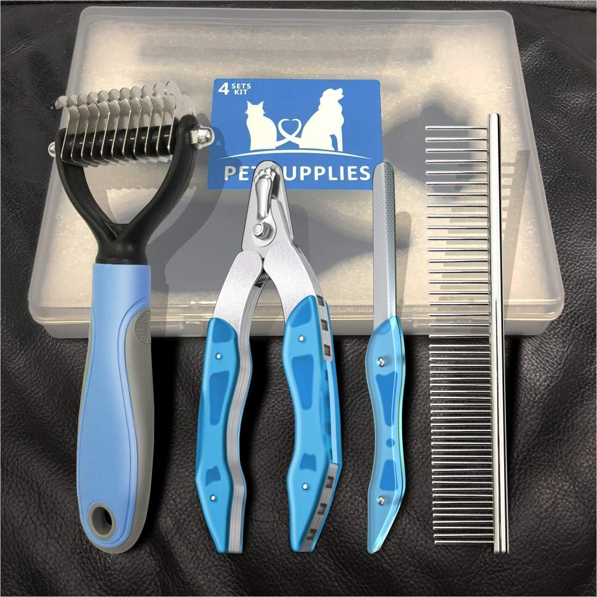 NANRE Dog Nail Clippers,Trimmer & Comb Gift Sets, Pet Grooming Tool for Dogs & Cats