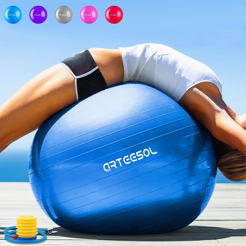 Arteesol Balle Fitness 65 cm/75 cm Anti-éclatement Anti-dérapant Yoga Swiss Ball Accouchement Balle Rapide Pompe Fitness Gym Yoga Pilates Core Training Thérapie Physique Bleu 75 cm