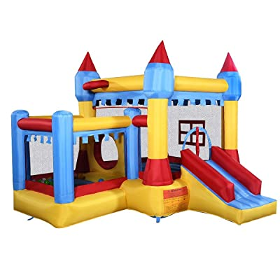 Costzon Inflatable Bounce House Castle Commercial Kids Jumper Moonwalk With Ball Without Blower