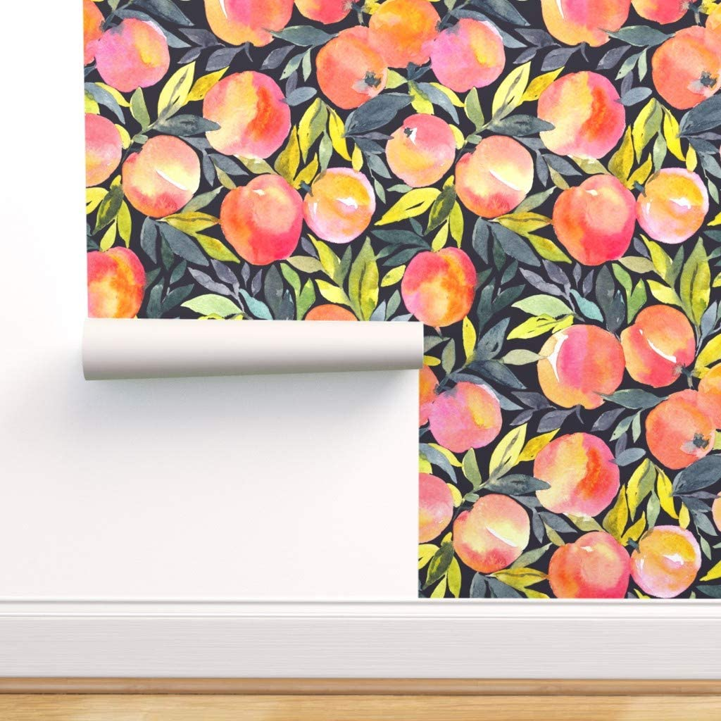 Peel-and-Stick Removable Wallpaper - Summer Peaches Watercolor Fruit Garden Modern Food by Alenkakarabanova - 24in x 72in Woven Textured Peel-and-Stick Removable Wallpaper Roll