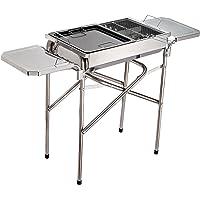 Outsunny® Holzkohlegrill Grill BBQ Standgrill Holzkohle Kohlegrill Gartengrill, Edelstahl, Silber, 68x30x104cm