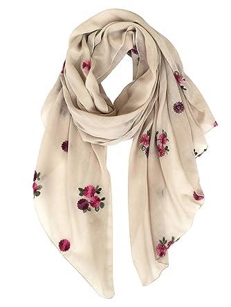 DAMILY Dames Mode Écharpes de Fleurs Brodées, Daily Stole Châle (Beige)   Amazon.fr  Vêtements et accessoires 775fd92727d