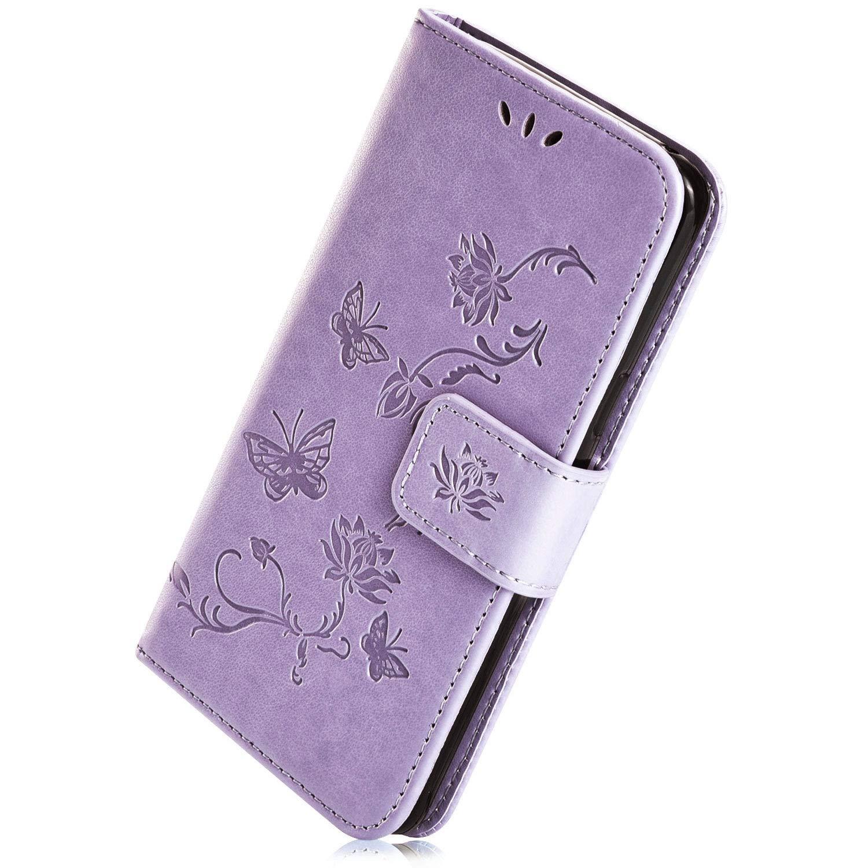 Herbests Compatible avec Samsung Galaxy A20e Coque Ultra Mince Portefeuille Emplacement Carte Fermeture Magn/étique Rabat Flip Clapet Folio /Étui Cuir PU TPU avec Papillon Lotus Motif,Violet Fonc/é