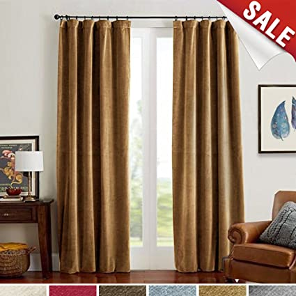 Jinchan Room Darkening Velvet Curtains Gold Brown Drapes For Bedroom Thermal Insulated Rod Pocket Window