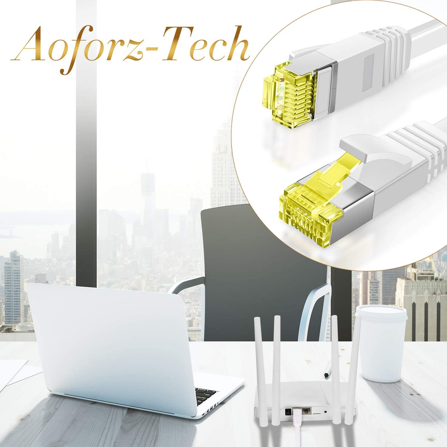 AoforzTech Ethernet Cable Cat6 50ft White Flat High Speed Internet Network Cable Cable Clips 50 feet White Computer Cable Snagless Rj45 Connectors