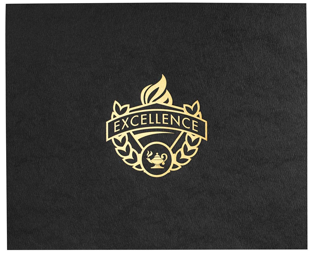 Excellence Certificate Jackets, 9 Inches x 12 Inches Folded, Black with Gold Foil, 50 Count by PaperDirect