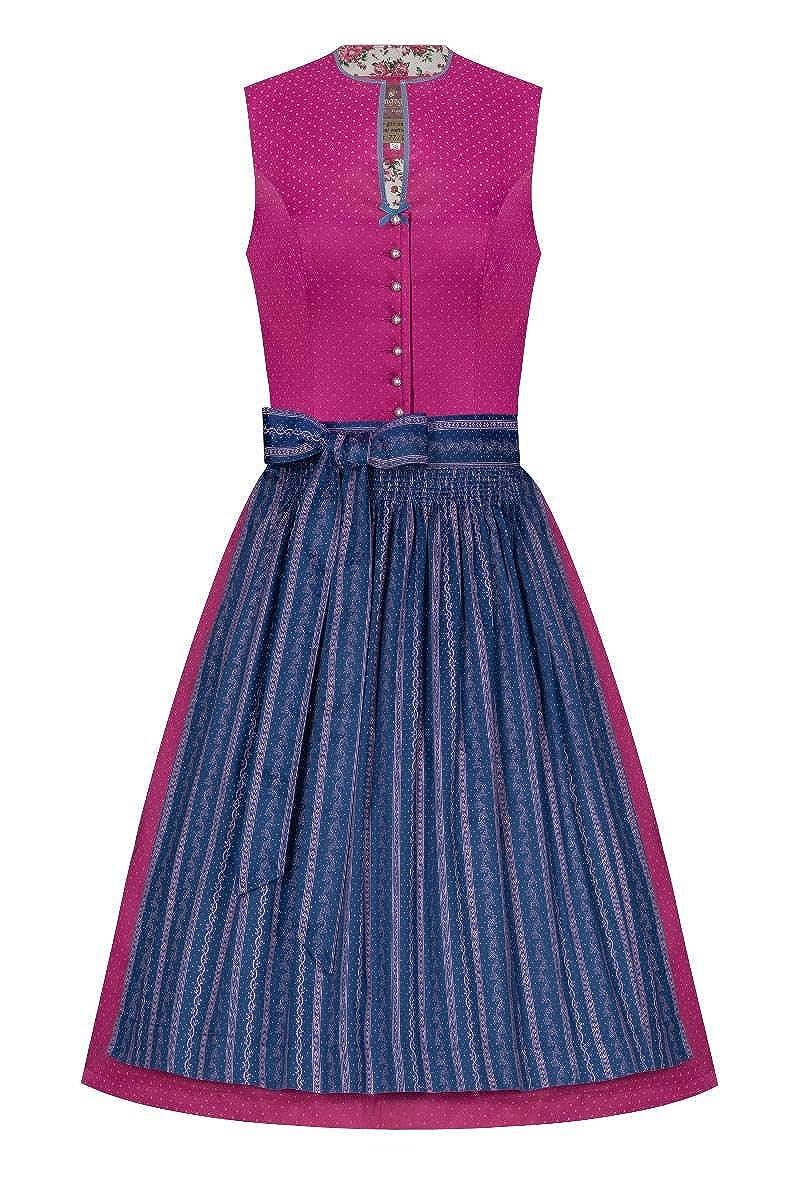Lieblingsgwand Moser Trachten Mini Dirndl 60er Pink Blau Emilia 005258 - Limitiert, Rocklänge: ca. 60 cm, mit Knopfleiste Rocklänge: ca. 60 cm