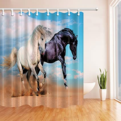 Nyngei 2 Noble Horses In The Desert Shower Curtain 14 Hook Bath Decorations  Bathroom Decor Sets