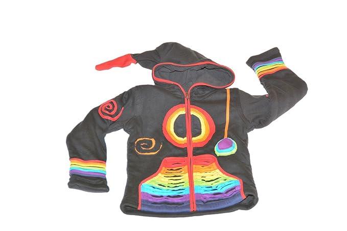 Niños hippie Chaqueta con capucha zipfel Goa PSY - Gnomo en RazorCut Diseño Negro/Arcoiris negro: Amazon.es: Ropa y accesorios
