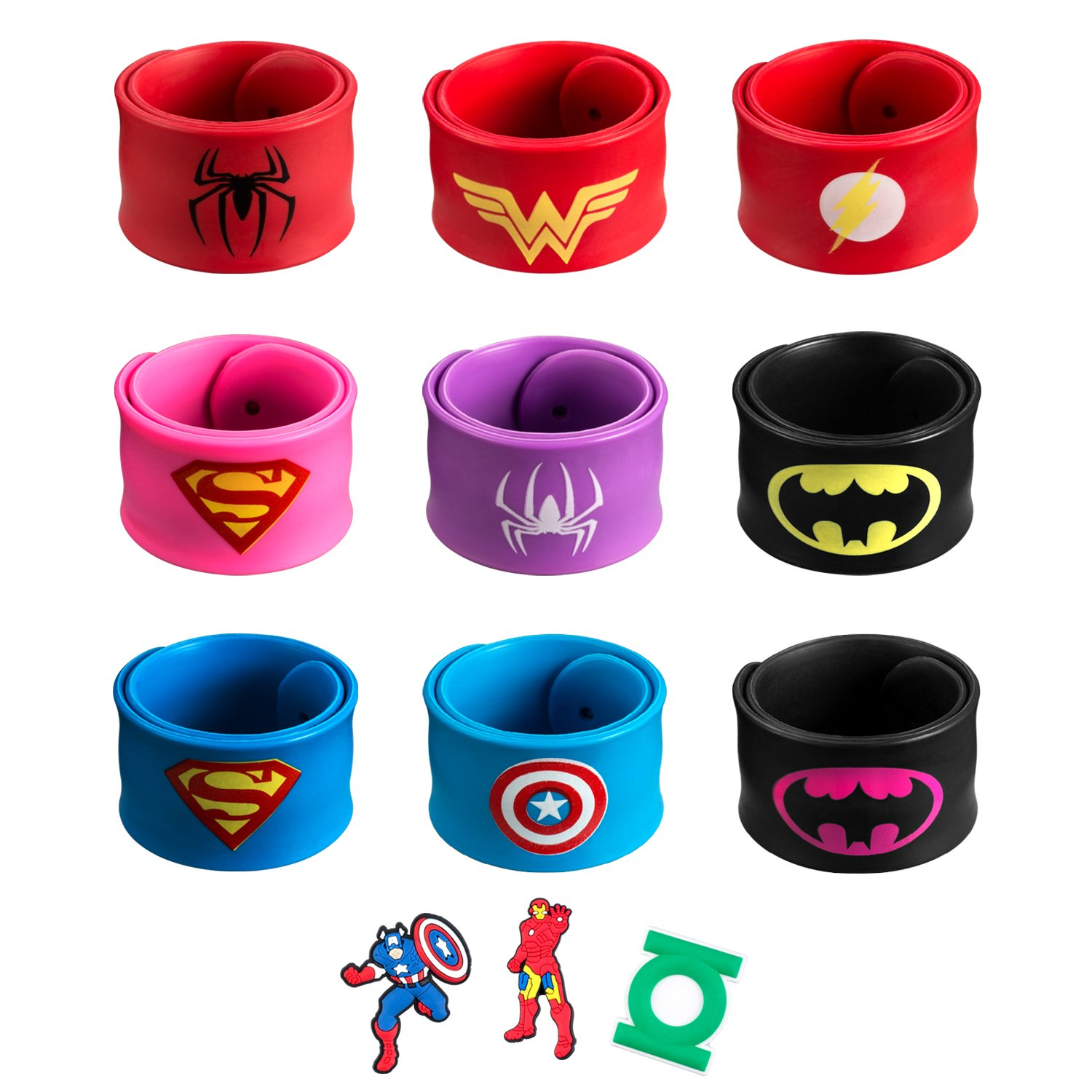 amasky Superhero Slap Bracelet, Slap Bracelet for Kids Boys & Girls Birthday Party Supplies Favors, Three Additional Superhero Brooch. (12 in pack)