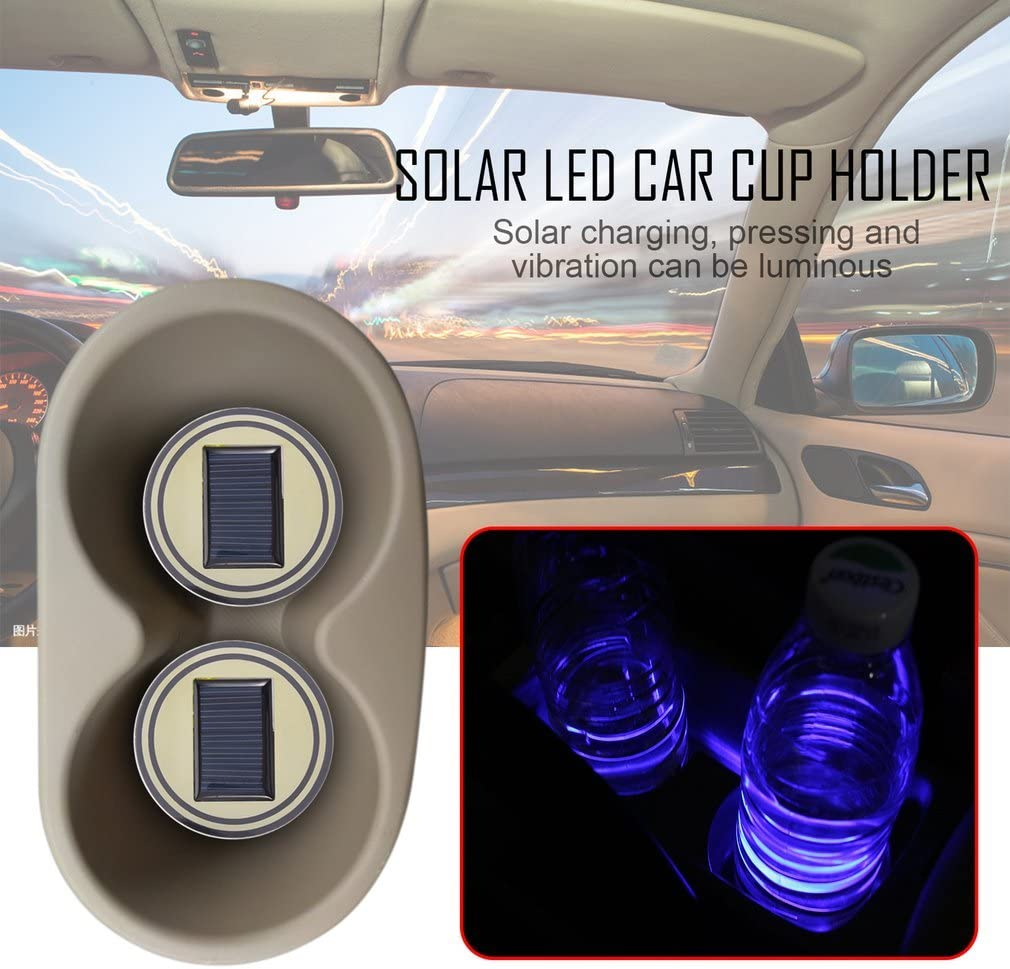 Blue A-Star 2Pcs Solar Led Car Cup Holder Bottom Pad Mat Drinks Coaster Led Light Cover