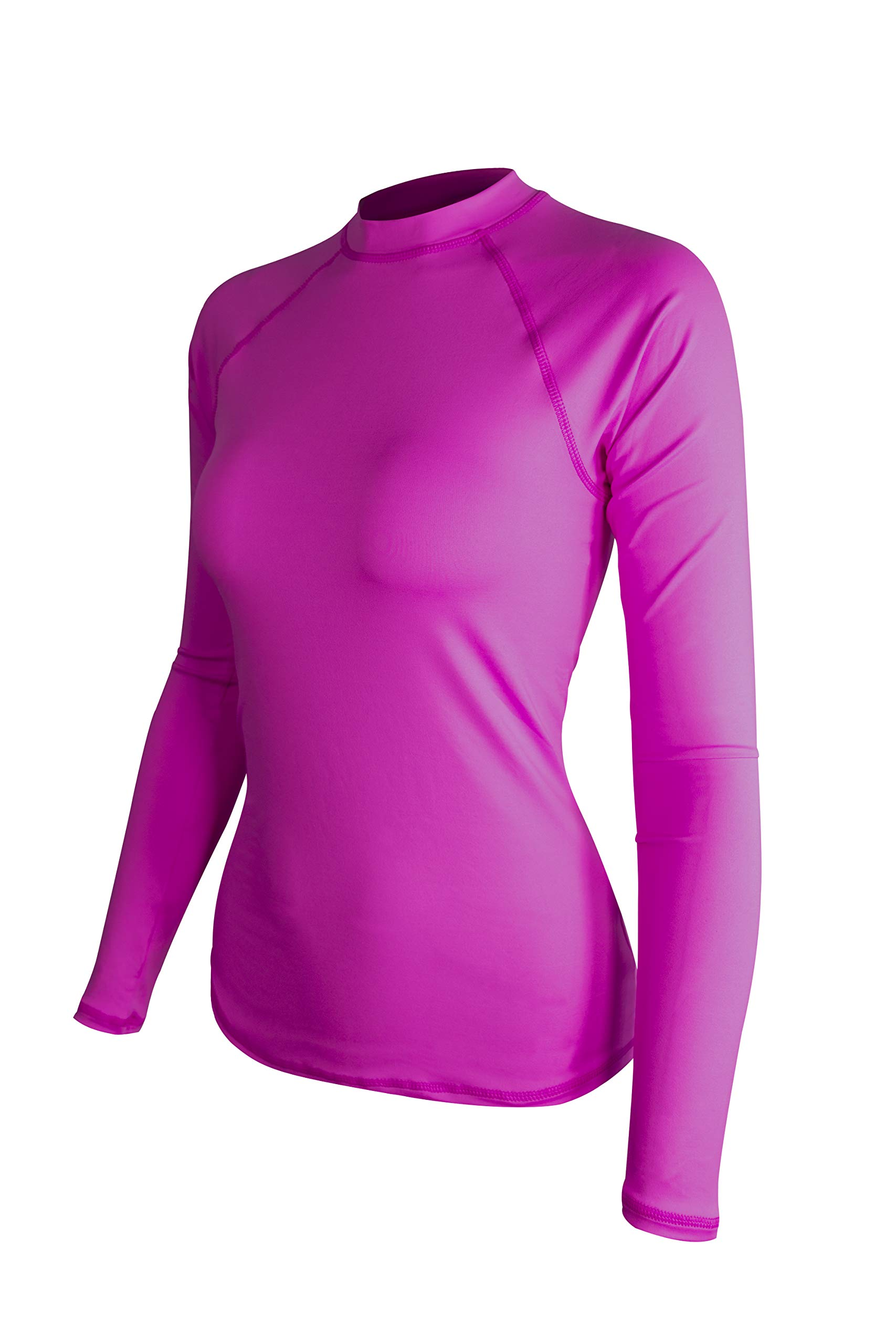ALLEZ Women's Long Sleeve Rash Guard Athletic Tops Swimwear UPF 50+ Sun Protection Swim Shirts (Pink, Large) by ALLEZ