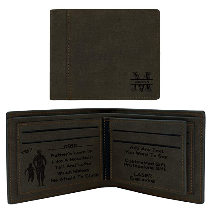 Personalized Wallets for Men,RFID Blocking,Custom Logo Wallet  Engraved,Fathers Day Gifts