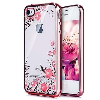 Kompatibel mit iPhone 4S/4 Hülle,HMalerei Schmetterling Blumen Rebe Muster Glänzend Glitzer Strass Diamant Überzug TPU Siliko