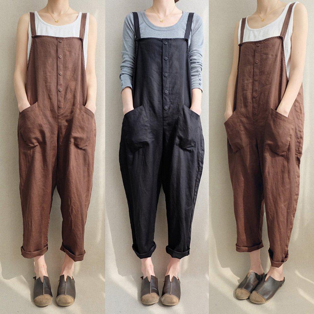 ff9f5f4c8560 Amazon.com  Aedvoouer Women s Casual Overalls Cotton Jumpsuit Rompers Large  Plus Size Harem Wide Leg Pants  Clothing