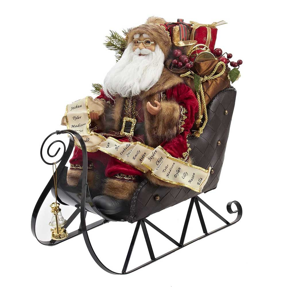 Kurt Adler D1919 Santa on Metal Sleigh Table Piece, 20-Inch