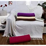 Batten Throw Cream / Ivory 50x60, Large 1 Seater Chair/Sofa / Bed Blanket 100% Cotton