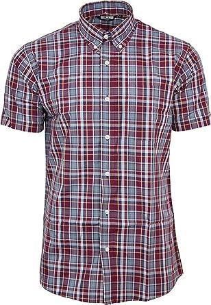 Relco - Camisa Casual - para Hombre Rojo Granate Large: Amazon.es: Ropa y accesorios