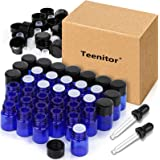 Essential Oils Sample Bottles, Teenitor 36 Pcs 2 ml (5/8 Dram) Cobalt Blue Oil Bottles For Essential oils , Amber Glass…