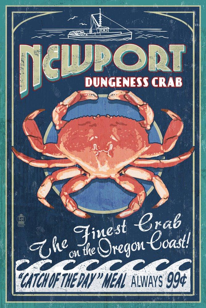 Newport, Oregon - Dungeness Crab Vintage Sign (12x18 Art Print, Wall Decor Travel Poster)