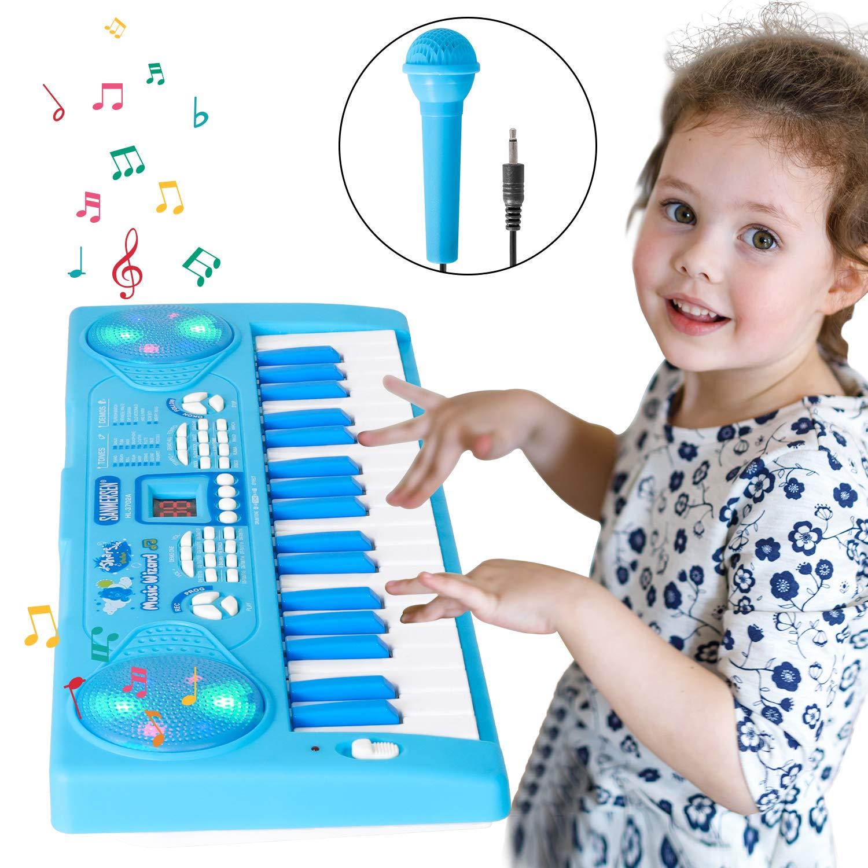Shayson Jouet Piano Clavier pour Enfants,Clavier et Piano pour Enfants avec 37 Touches Instrument de Musique /Électronique /Éducationnel avec Microphone de Cadeau d/'Anniversaire pour B/éb/é Bleu