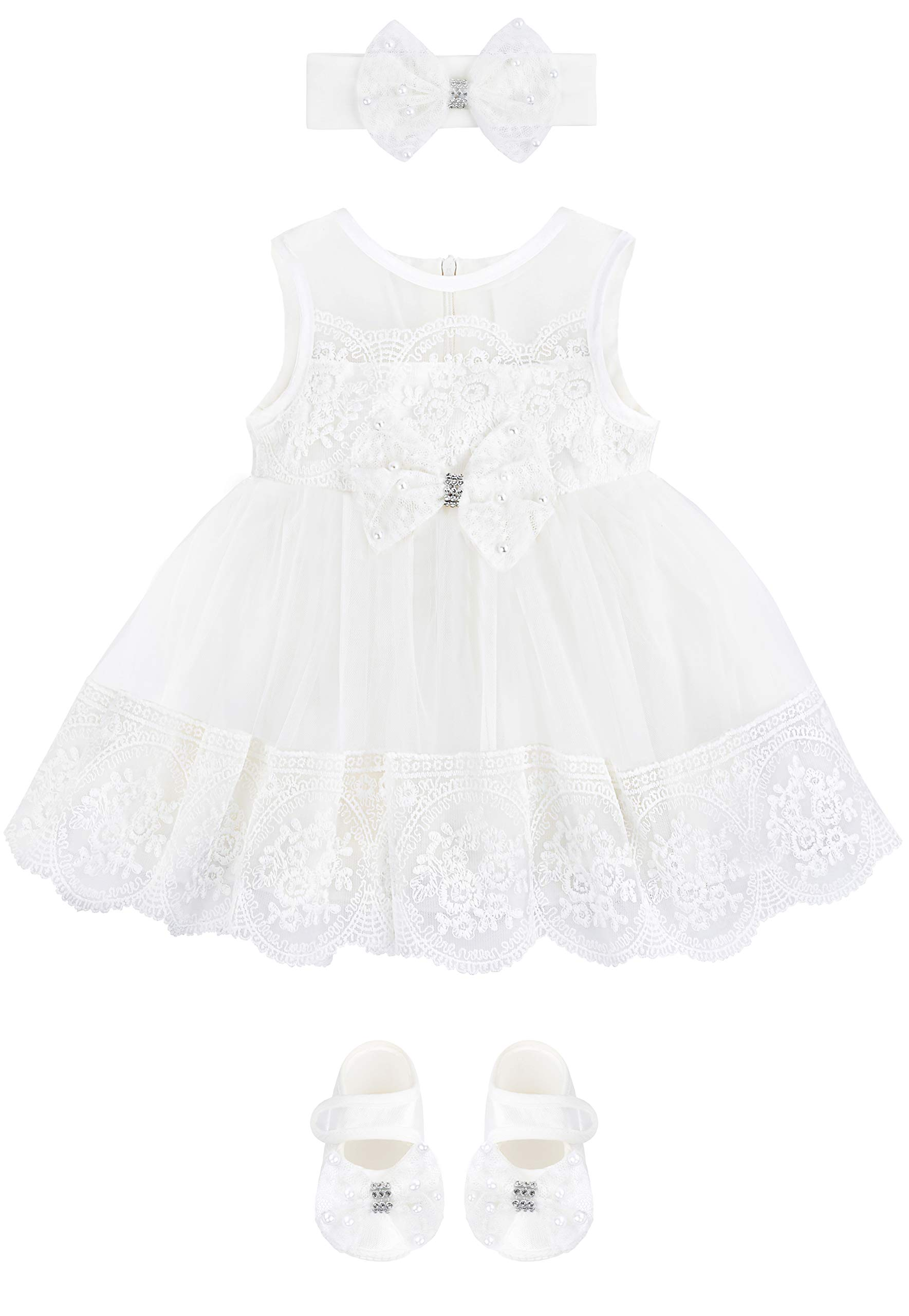 Taffy Baby Girl Christening Baptism Embroidered Dress Gown 6 Piece Deluxe Set 0-3 Months, White by T.F. Taffy
