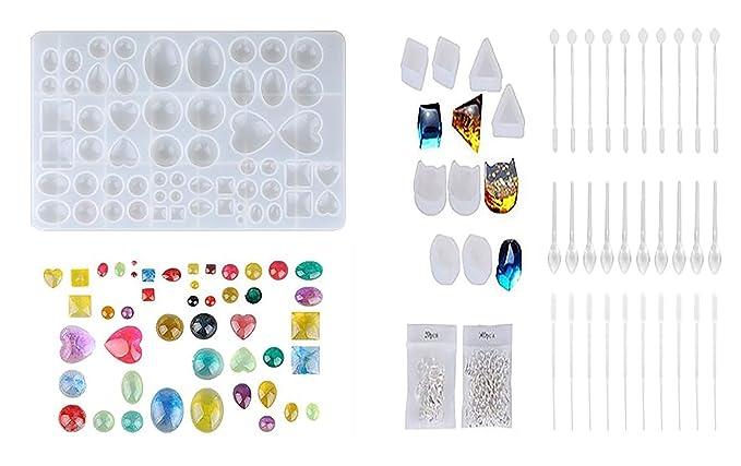 149PCS Moldes de resina de silicona, Moldes de herramientas para artesanías de resina, incluyendo 1 Moldes colgantes de joyería + 8 Aretes Molde + 10 ...
