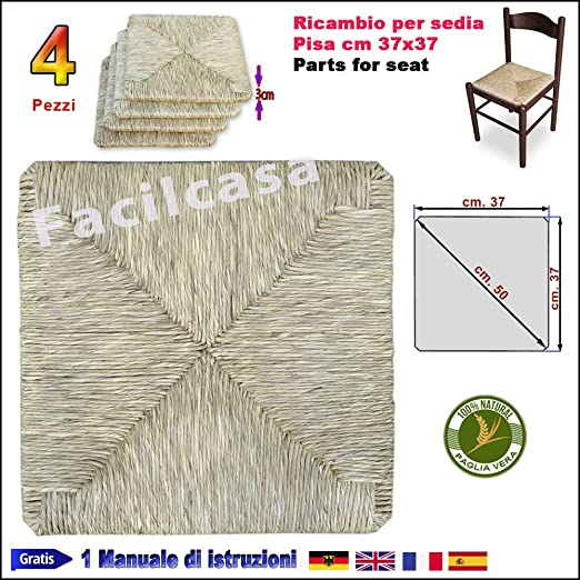 SEDAM SRL Seduta in Paglia Vera Adatto per Sedia in Legno 37x37cm