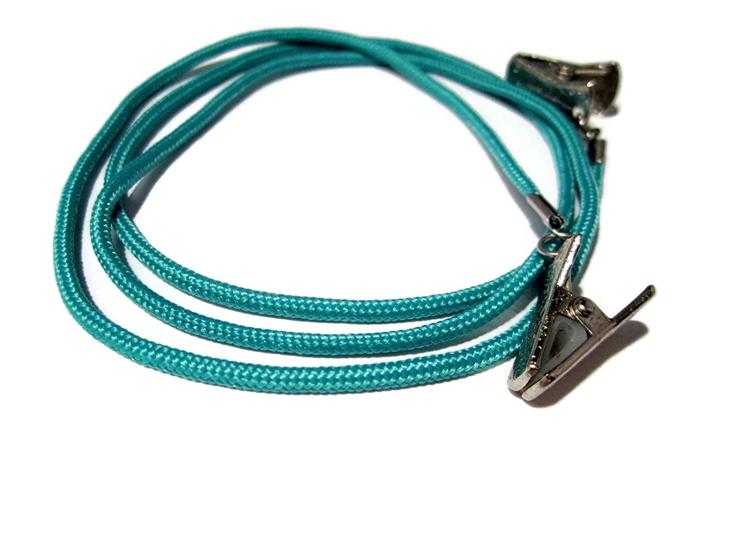 ATLanyards Teal Blue Paracord Eyeglass Lanyard, Eyeglass Holder with Silver Clips, 350
