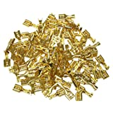 Aerzetix: Lot de 100 cosses électriques 6,3 mm à sertir femelles plates en laiton brut - C1364