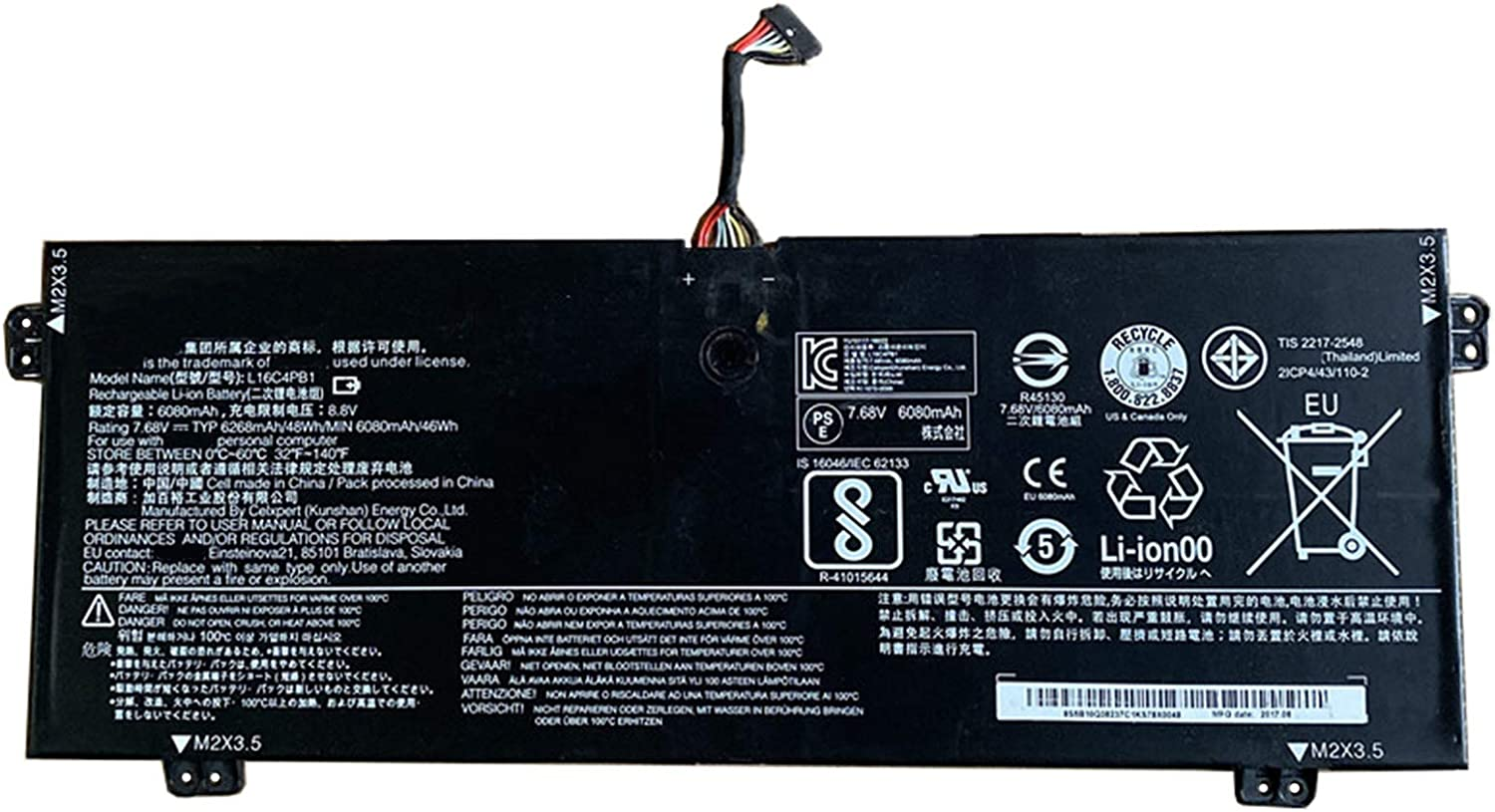 Dentsing L16C4PB1 (7.68V 48Wh/6080mAh 4-Cells) Laptop Battery Compatible with Lenovo Yoga 720-13IKB 730-13IKB 730-13IWL Series Notebook L16L4PB1 L16M4PB1 2ICP4/43/110-2