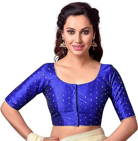 Women Blouse Handmade Designer Women Saree Blouse Sari Blouse Readymade Sari Blouse Crop Top Blue Indian Saree Blouse Saree Blouse