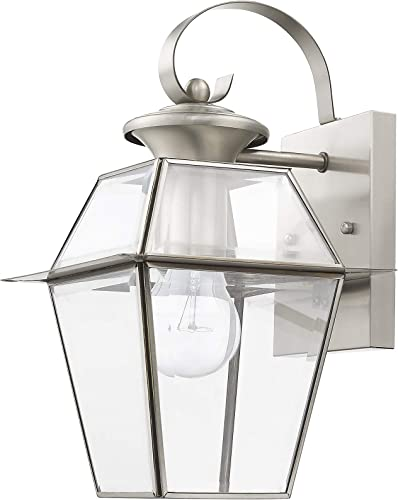 Livex Lighting 2181-91 Westover 1 Light BN Outdoor Wall Lantern, Brushed Nickel