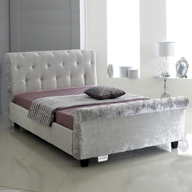 - Home Furnishings UK Hf4you Bucky Crushed Velvet Sleigh Bed - 3FT6