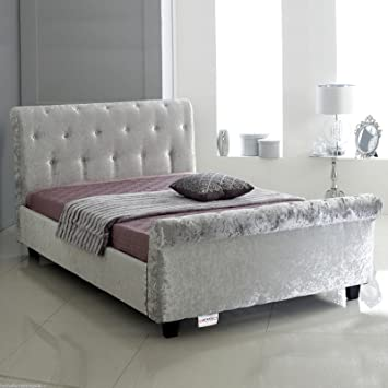 timeless design 47d6c e4f5e Hf4you Bucky Crushed Velvet Sleigh Bed - 4FT Small Double - Silver - 6