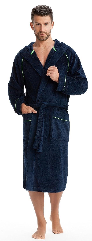 LEVERIE accappatoio sportivo e soffice/accappatoio da uomo con cappuccio e cuciture a contrasto