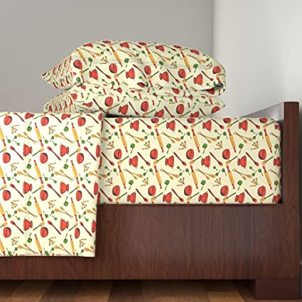 Roostery Retro 4pc Sheet Set Retro Kitchen Gadgets Pattern By Diane555  Queen Sheet Set Made