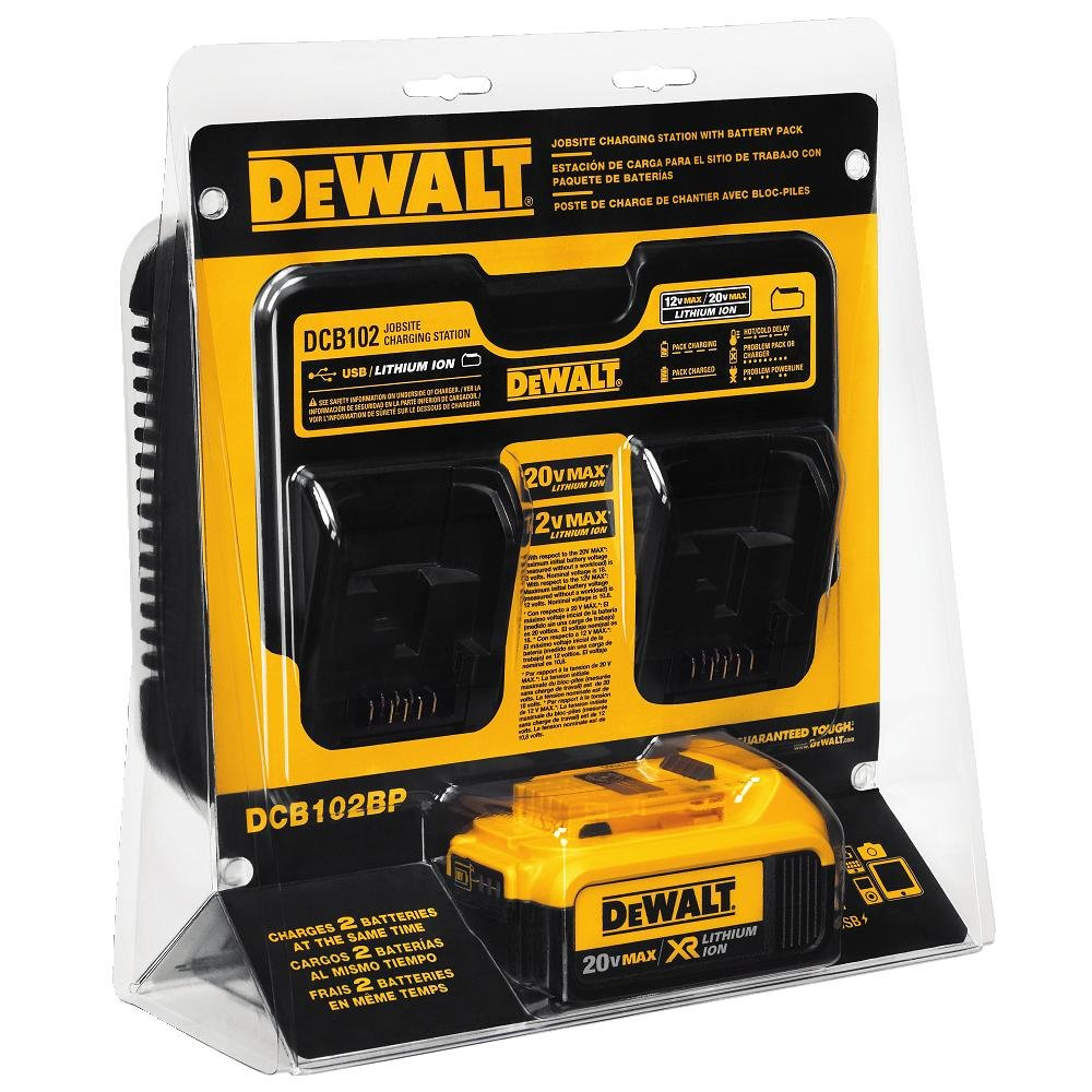 DEWALT DCB102BP 20-volt MAX Jobsite Charging Station with Battery Pack by DEWALT: Amazon.es: Bricolaje y herramientas
