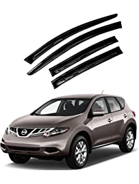 Atomsonic AMS1584 Black N/A Atomsonic Sun/Rain Guard Vent Shade Window Visors for 2009-2014 Nissan Murano Tape-On Wind...