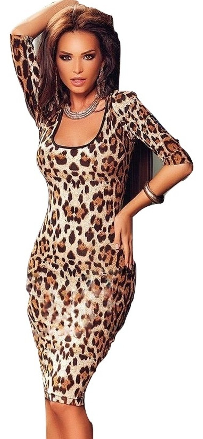 New Ladies Leopard Print Knot Back Bodycon Midi Dress Club Wear Evening Party Special Occasion Size Fits 10-12