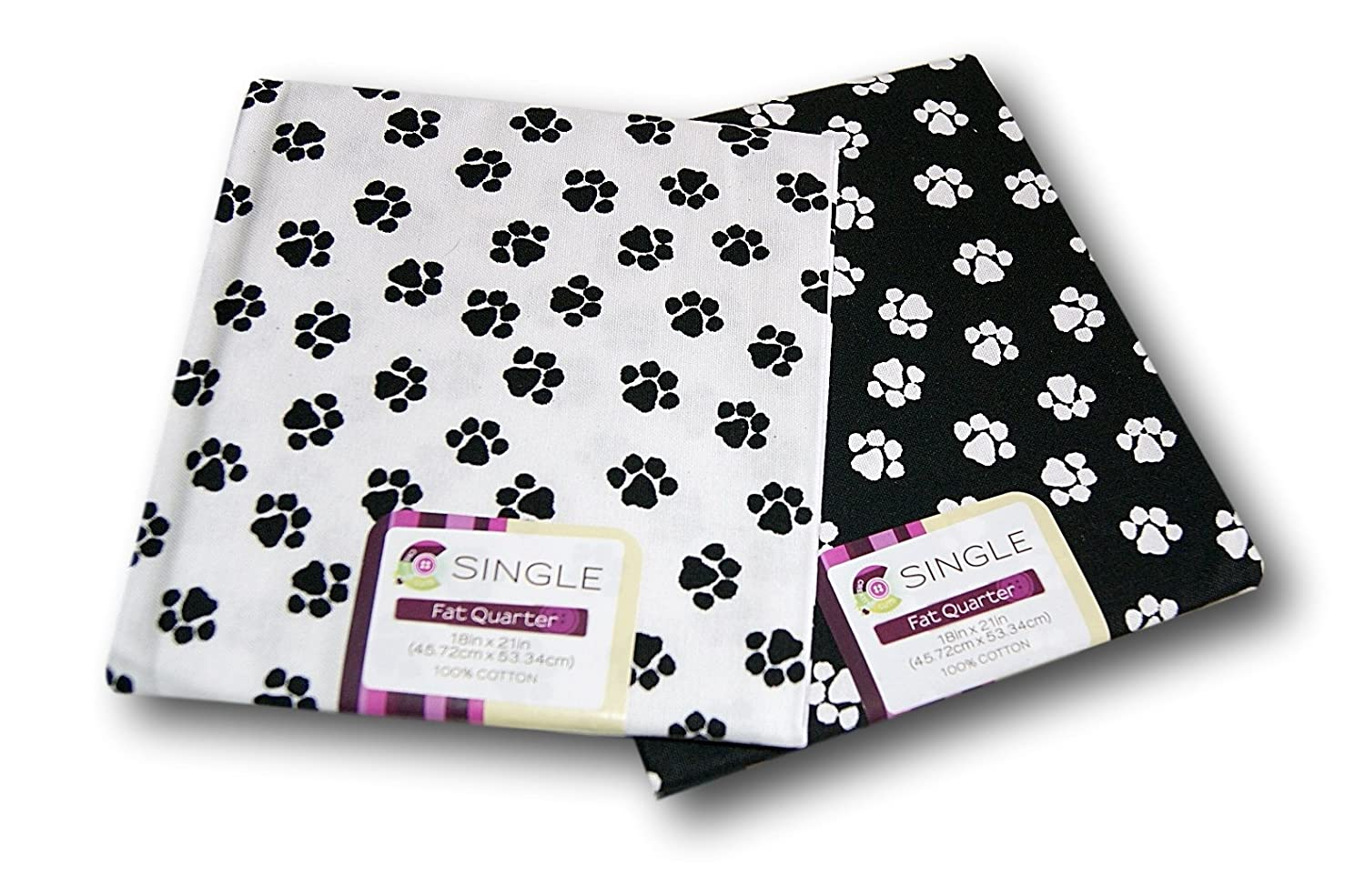 Creative Cuts Paw Prints Fat Quarters Bundle - Black and White Pattern Theme Fabric Editions 4336917314